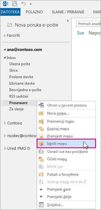 brisanje mape iz okna s mapama
