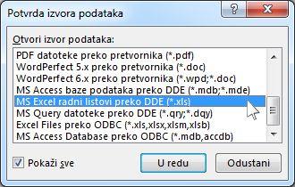 Dijaloški okvir za potvrdu izvora podataka