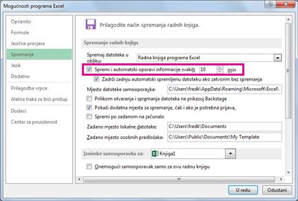 Mogućnost Samooporavak na kartici Spremanje u dijaloškom okviru Mogućnosti programa Excel