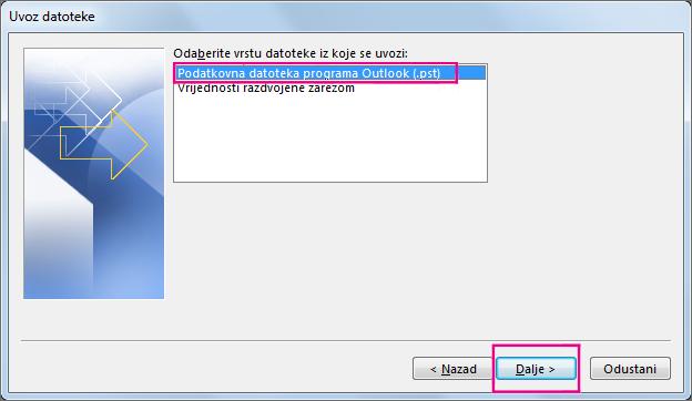 Odaberite da biste uvezli podatkovnu datoteku programa Outlook (.pst)