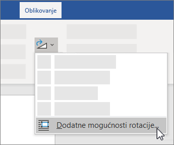 Dodatne mogućnosti rotiranja na vrpci programa Word