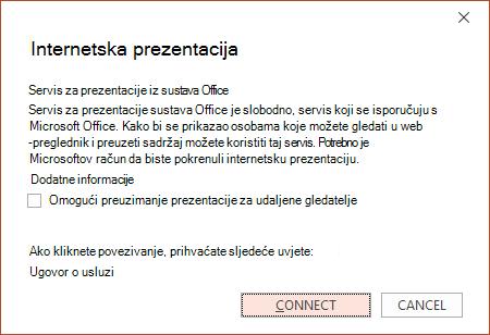 Prikazuje mogućnost Datoteka > Zajedničko korištenje > Internetska prezentacija