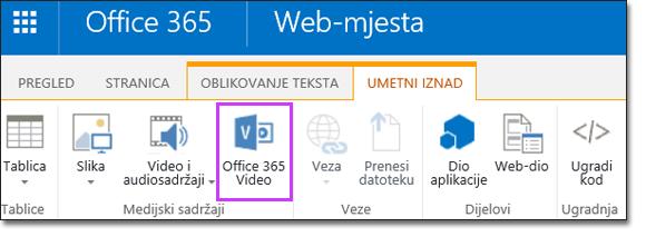 Office 365 videozapis ugrađuje videozapis