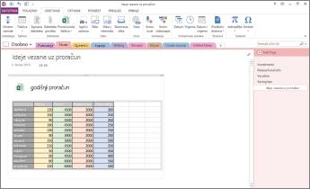Pregled proračunske tablice programa Excel na stranici u programu OneNote