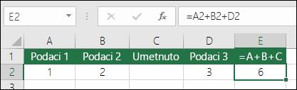 Formule oblika =A+B+C neće se ažurirati prilikom dodavanja redaka