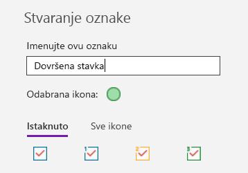 Stvaranje prilagođenih oznaka u aplikaciji OneNote za Windows 10