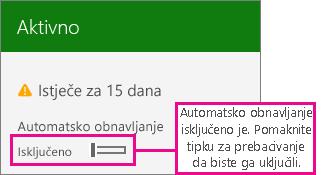 Snimka zaslona pretplate s prikazanom mogućnošću za uključivanje ili isključivanje automatskog obnavljanja