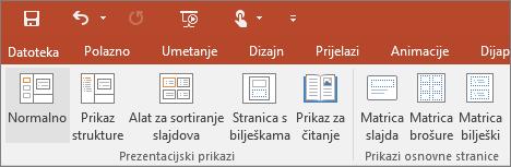 Prikaz izbornika prikaza u programu PowerPoint