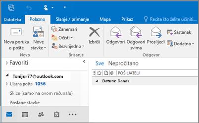 Slika kako izgleda kada račun za Outlook.com imate u programu Outlook 2016.