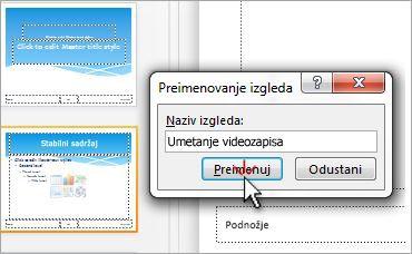 Preimenovanje rasporeda slajda