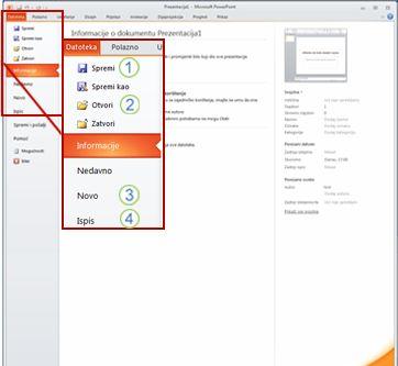 Kartica Datoteka na vrpci u programu PowerPoint 2010