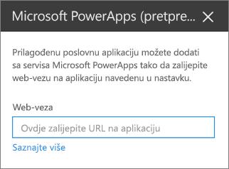 Okno svojstva aplikacije Power
