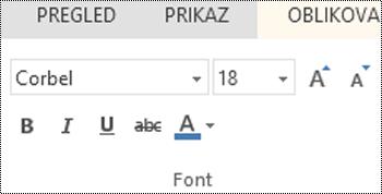 Grupa fontova u web-aplikaciji PowerPoint Online