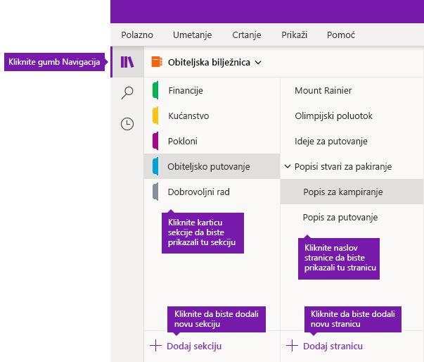 Sekcije i stranice u programu OneNote za Windows 10