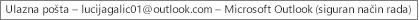 Oznaka pri vrhu prozora koja prikazuje ime osobe koja je vlasnik ulazne pošte i označava da je Outlook pokrenut u sigurnom načinu rada