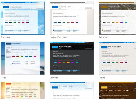 Stranica za odabir predloška sustava Office 365 na kojoj je prikazan izbor predložaka za raspored i teme javnog web-mjesta