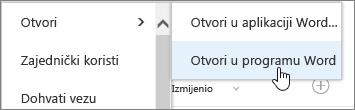 Otvaranje programa odabir aplikacije s odabrana riječ.
