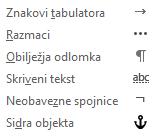 To su oblikovanja znakova dostupan u porukama e-pošte.