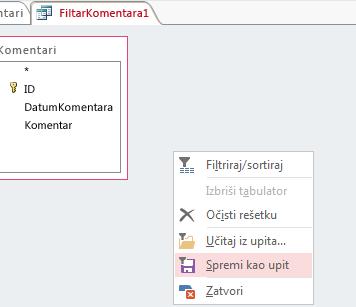 Kontekstni izbornik u značajci naprednog filtriranja/sortiranja