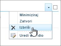 Brisanje dijela aplikacije na izborniku postavke dio aplikacije