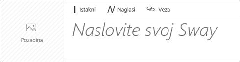 Snimka zaslona na kojoj se prikazuje okvir za unos Dodijelite naslov swayu.