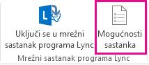 Snimka zaslona s mogućnostima sastanka u programu Lync na vrpci