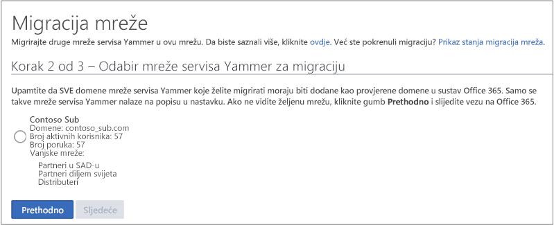 Snimka zaslona s korak 2 od 3 – odabir mreže servisa Yammer za migriranje
