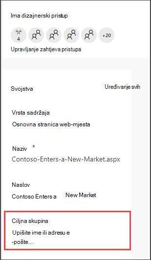 Okno detalj stranice s mogućnošću unosa publike