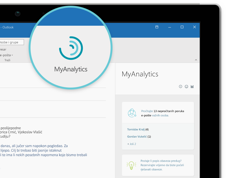 Snimka zaslona MyAnalytics logotip i navigacijskog okna
