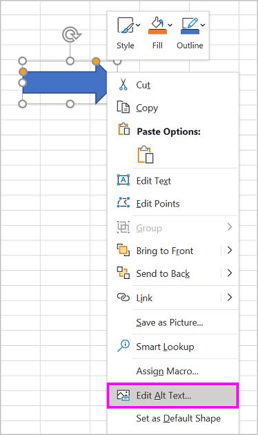 Mogućnost Uređivanje zamjenskog teksta u izborniku desnom tipkom miša za oblik strelice