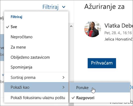 Snimka zaslona na kojoj se prikazuje izbornik Filtar s odabranom mogućnošću Prikaži kao