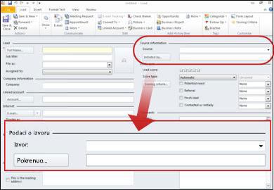Snimka zaslona prikazuje odjeljak izvor podataka zapisa