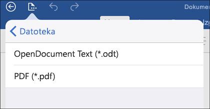 Dodirnite Datoteka > Izvoz da biste izvezli dokument u PDF