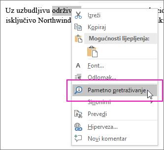 Pametno traženje ističe se kada desnom tipkom miša kliknete neki tekst ili sliku