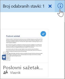 Snimka zaslona s prikazom odabira stavke i klika na ikonu informacija