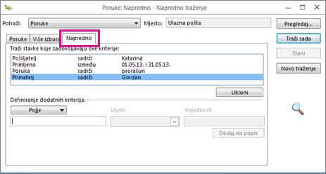 Stvaranje popisa uvjeta za pretraživanje