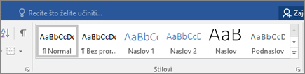 Stilovi na kartici Polazno programa Word u sustavu Office 365