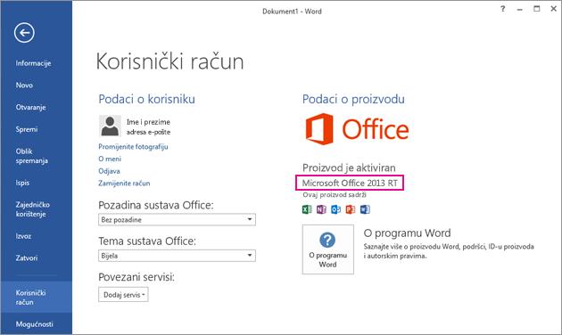 prozor datoteka > korisnički račun u programu word rt