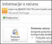 Dodavanje novog računa e-pošte u Outlook 2010