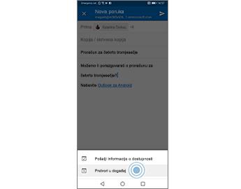 Poruka e-pošte s istaknutom mogućnošću Pretvori u događaj