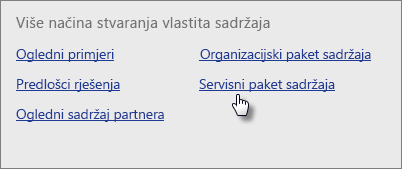 U odjeljku Biblioteka paketa sadržaja u postavci Servisi odaberite Dohvati.