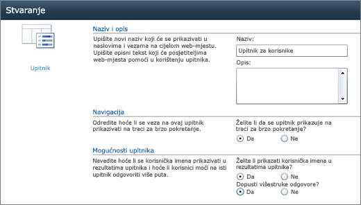 Stranica za mogućnosti sustava SharePoint 2010 upitnika