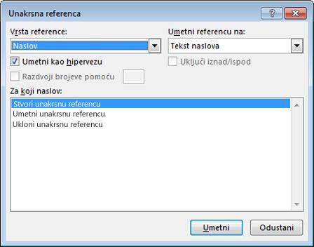 Dijaloški okvir unakrsne reference u programu Word