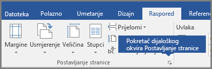 Pokretač dijaloškog okvira za Postavljanje stranice u programu Word.