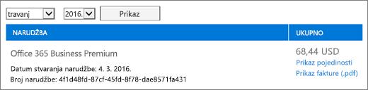 Računi stranica prikazuje saldo trenutnog računa za narudžbu.