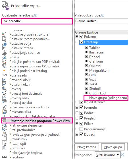 Prilagodba okvira s vrpcama u programu Excel