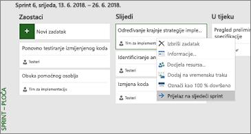 Ploča sprinta i popis dostupnih naredbi povezanih sa zadatkom