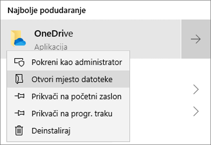 Snimka zaslona s izbornikom koji se otvara desnim klikom miša u izborniku Start s odabranom stavkom Otvori mjesto datoteke.