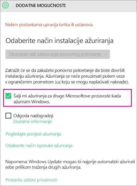 Dodatne mogućnosti servisa Windows Update