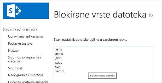 Popis blokiranih datoteka